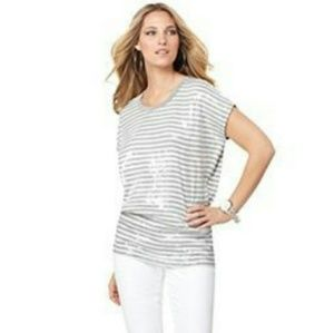 Michael Kors Striped Sequined Top MP